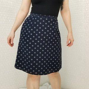Ann Taylor LOFT VTG 90s navy polkadot A-line skirt